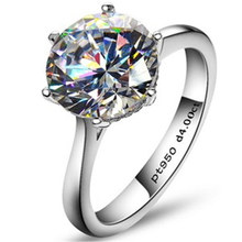 Luxury 4 Carat NSCD Synthetic Simulated Diamond Ring for Women 925 Sterling Silver Engagement Rings Sona Diamond Wedding Ring(China (Mainland))