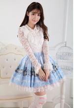 Buy Sweet Light Blue Alice Concert Melody Printed Lolita Lace Mini Skirt Free for $36.99 in AliExpress store