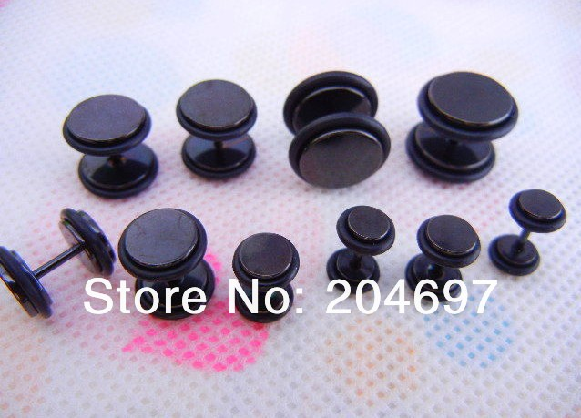 6-12mm Mix 80pcs Titanium Anodized Black Fake Ear Plug Double O-ring Cheater Expander Plugs Body Piercing Jewelry Free Shipping