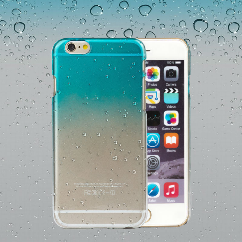 New Stylish Water Drop Phone Cases Ultra-thin Transparent 3D Gradients Hard Plastic Cell Phone Cover Case For iPhone 6 4.7 inch(China (Mainland))