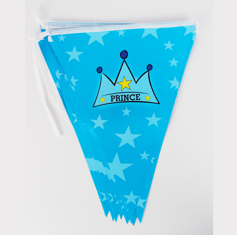Kids Boy Baby Happy Birthday Party Decoration Kids Supplies Favors Crown Prince Paper Pennant Banner 12 Flags 1Pack Length 280cm(China (Mainland))