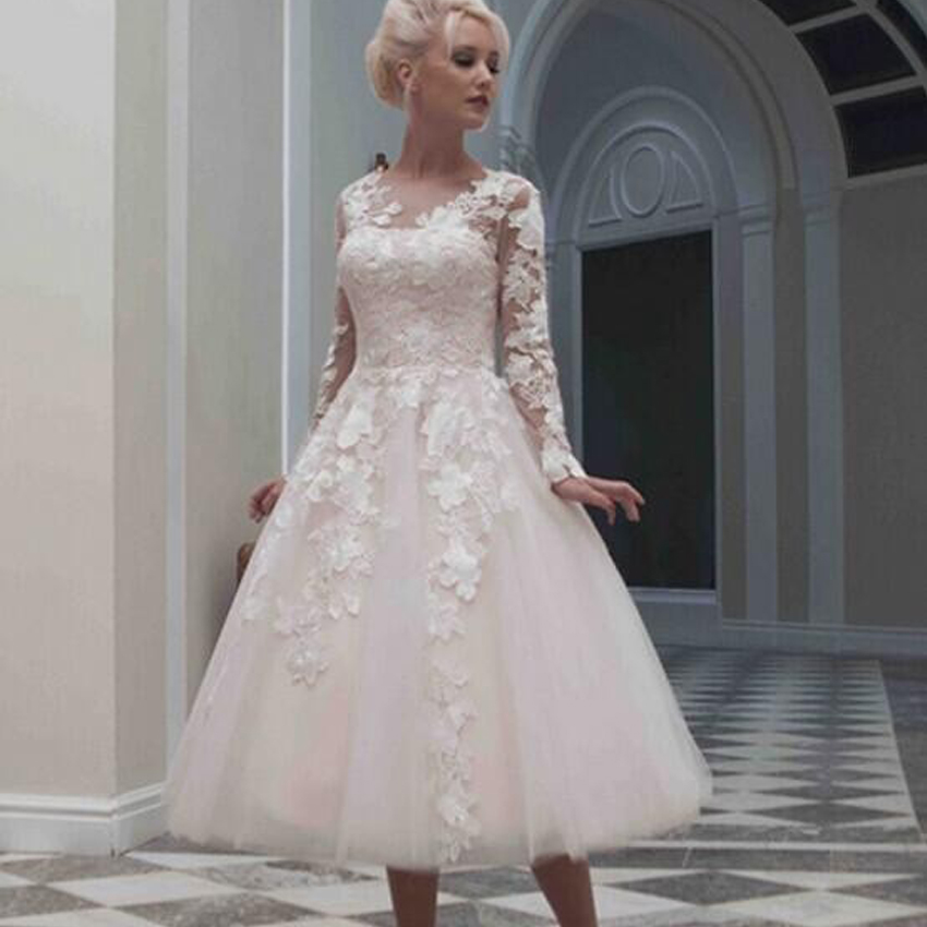 style long sleeve short wedding dress tea length plus size dresses