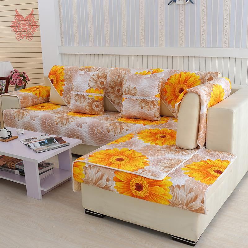 Pastoral style sunflower print sofa cover 100 cotton cloth for Canape sofa cover