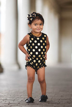 Black and Gold Dots Pom Pom Romper headband Jumpsuit,baby girl clothes,white and gold baby outfit,baby romper