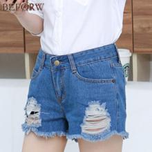 Buy 2017 Summer Holes Denim Women Fashion Ruffle High Waist Blue White Shorts Plus Size Women Clothing Shorts for $11.33 in AliExpress store