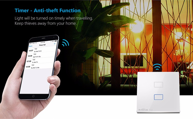 Broadlink TC2 US Standard 1 Gang Smart Home Automation Mobile APP Remote Wireless Control Lamp Light Switch by Broadlink Rm Pro