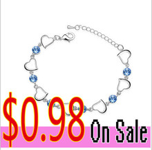 Silver plated &Best-selling women's jewelry imported rhinestone inlaid Single Heart Crystal Bracelet -E03(China (Mainland))