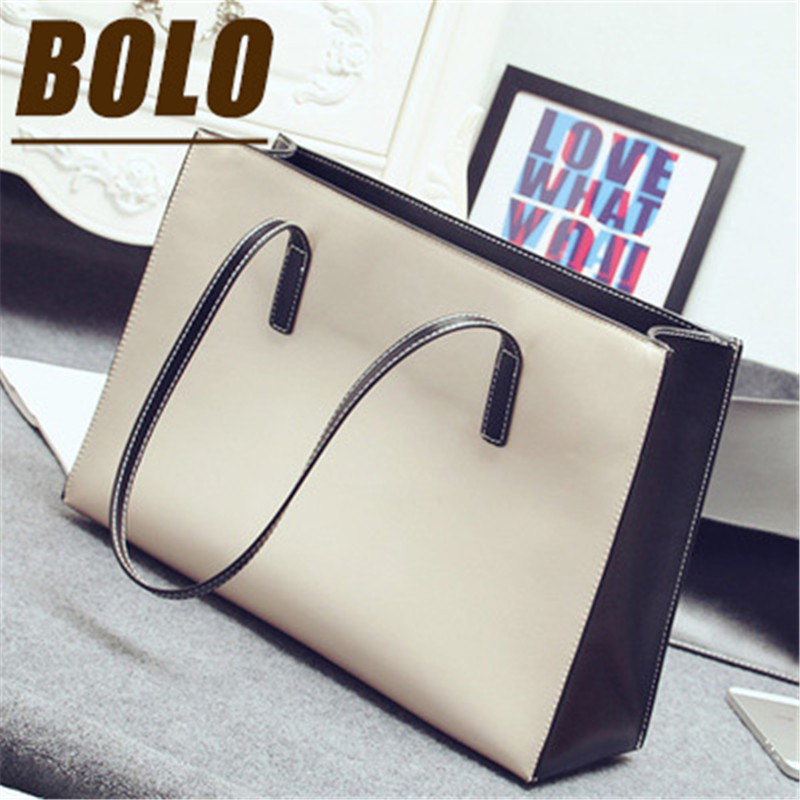2016 new simple women bag black white women messenger bags high-capacity leather handbags classic shoulder handbags(China (Mainland))