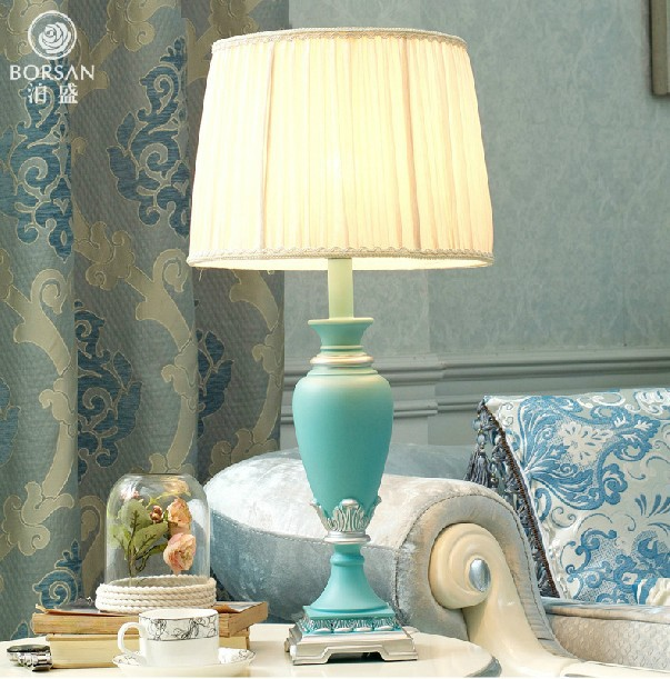 Blue e27 bulbW12''*H25''110V220V LED TABLE LAMP night light resin fashion table lamp for living room, study abajur free shipping(China (Mainland))
