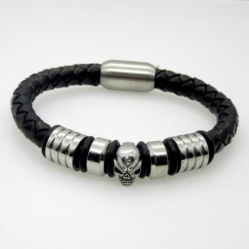 Панк мужская череп браслеты серебряные украшения из нержавеющей стали череп магнитной застежкой черный плетеные кожаные браслеты для мужчин
