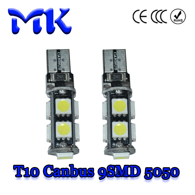 10X car led t10 canbus 9 smd 5050 led 9smd 3 chips w5w wedge light bulb lamp 194 168 501 white red yellow green ice blue 12v(China (Mainland))