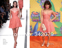 ph04455 Lea Michele Elie Saab spring 2014 rosy pink frock a signature pose in the frilly lace Short Celebrity Dress(China (Mainland))