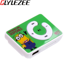 Glylezee Minions Clip MP3 Music Player with TF Card Slot with 5 Colors Mini Sports Running Cartoon Style Music Player(China (Mainland))