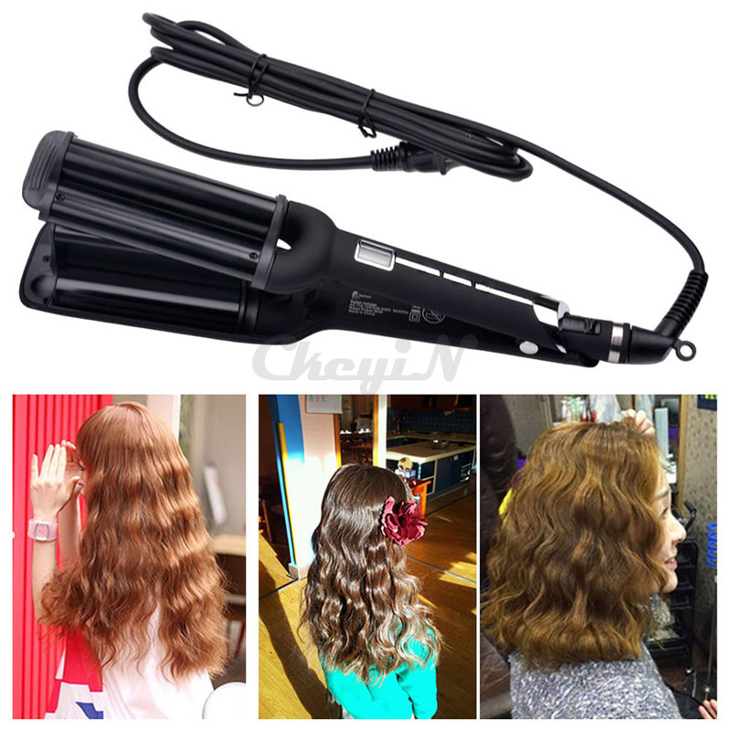 110-240V Butterfly Three Tube Ceramic Styler Hair curler Triple Barrel Waver With LCD Display For Ladies/Girls HS50HQ-0.45WY(China (Mainland))