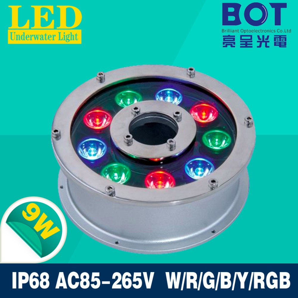9W LED Fountain lamp Stainless steel IP68 Safety DC12V Swimming Pool/Ponds/Fountain colorful decorative lighting(China (Mainland))