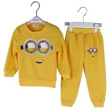 Retail 2016 baby boys girls clothing set spring cotton kids clothes cartoon minions 2pcs  suits casual baby shirts+pants sets(China (Mainland))