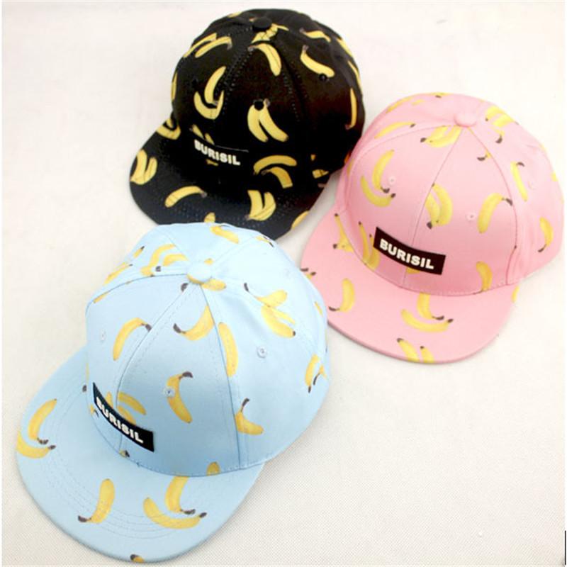The new male and female baby hat reentry cartoon fruit banana printing children hip-hop baseball cap flat along a sun hat(China (Mainland))