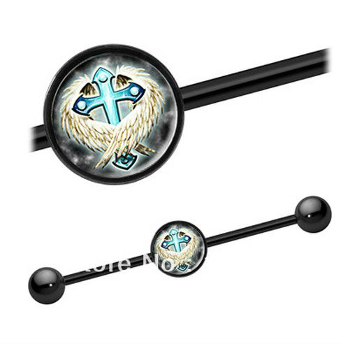 316L stainless steel with anodized cross picture industrial barbell new ear plug body piercing jewelry(China (Mainland))