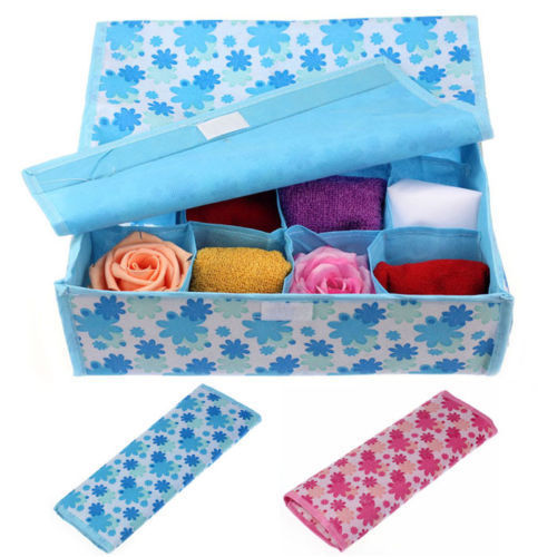 Nonwoven BLue Pink 16 Cell Folding Storage Container For Socks Bras Underwear Boxes Ties Drawer Closet Divider Organizer Box(China (Mainland))