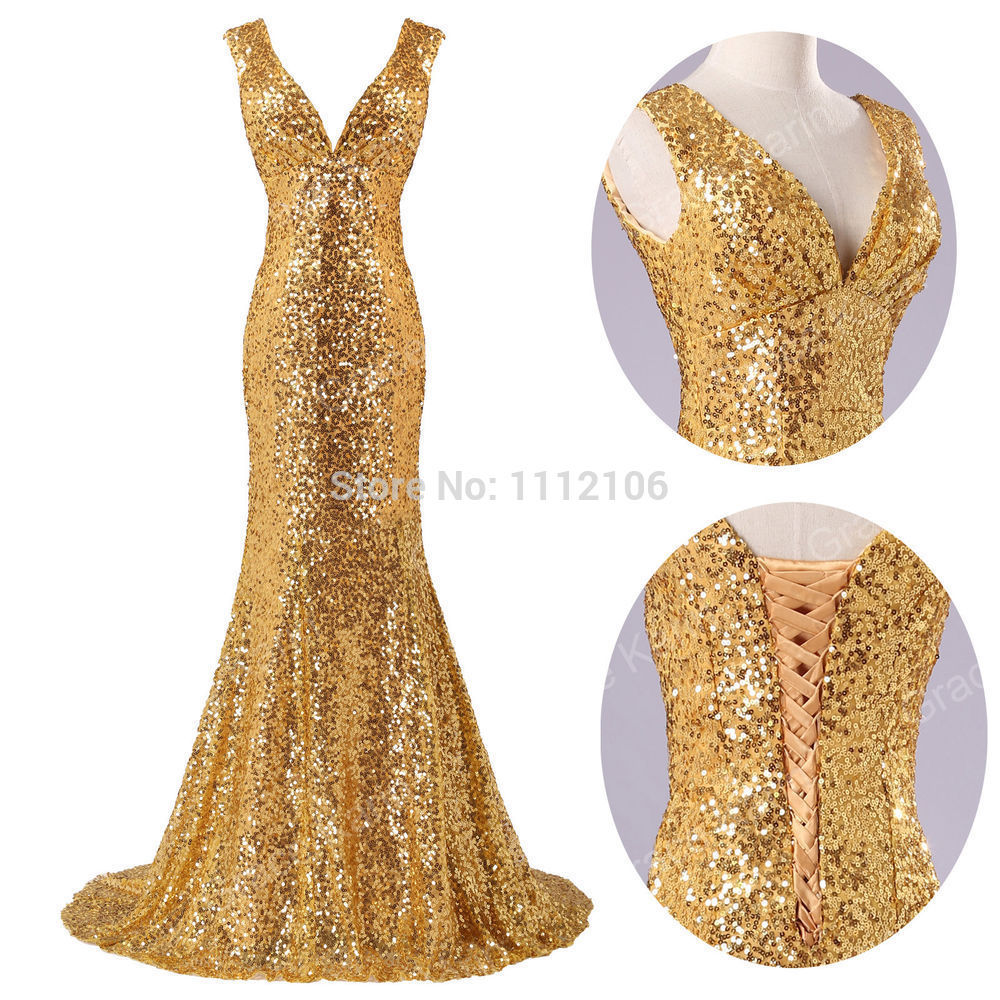 blingbling gold sequin evening dresses long v neck lace up