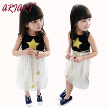 Fancy Elegant Children Kids Clothes Baby Girls Dress Stars Sequins Tulle Bow Toddler Tutu Dress Bling Bling Star Belt Wholesale
