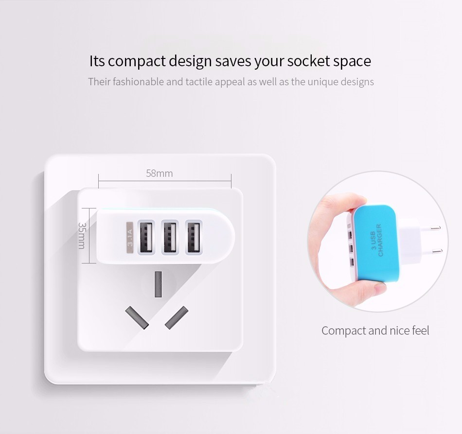 EU 3 Multiple Ports Wall Charger USB Intelligent Adapter Mobile Phone Device 5 V 2A Quick Charger for iPhone ipad Samsung HTC