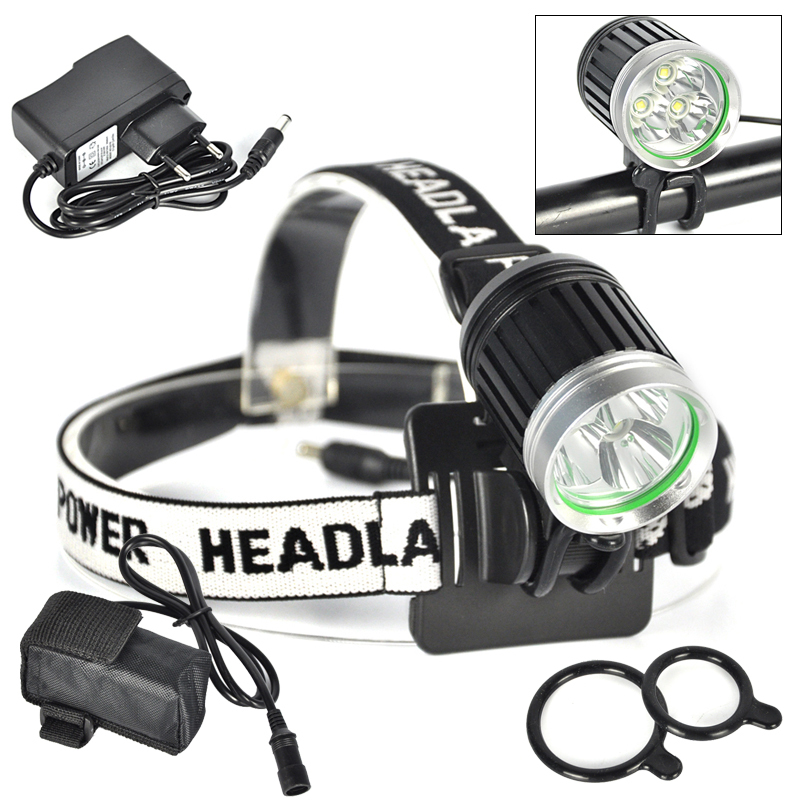 6000 Lumen Cycling Bicycle Headlight 3x XM-L T6 LED Front Bike Light Bicicleta Headlamp With Battery Pack+Charger+O-Rings