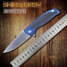 Shirogorov 95 nueva Russian top calidad plegable del cuchillo bola arandela de rodamiento azul aleación de titanio fibra de carbono cuchillo táctico