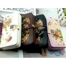 2016 Mina NewNew Women Retro Long Flower Purse Wallet Mobile Phone Bag Buckle Handbag(China (Mainland))