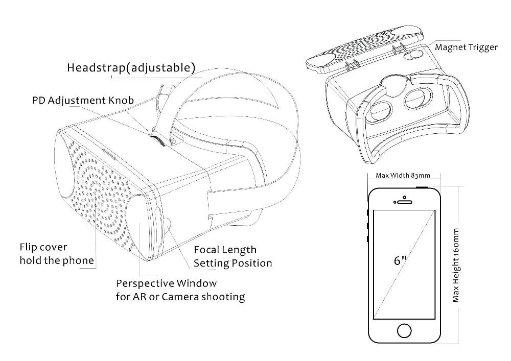 ถูก 2016ใหม่ชุดหูฟังความเป็นจริงเสมือน3D VRกล่องที่มีแม่เหล็กทริกเกอร์นักเรียนระยะทางและความยาวโฟกัสปรับWoksที่มีมาร์ทโฟน