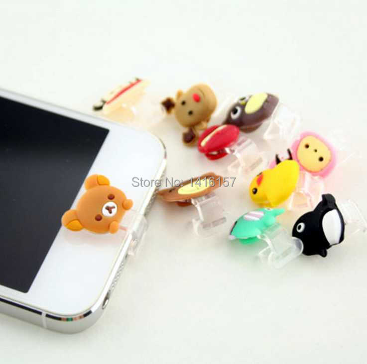 Cute animals Data Jack Anti Dust Plug + Home Button Sticker for iPhone 5 iPad 4 Mini Touch 5,Color Random