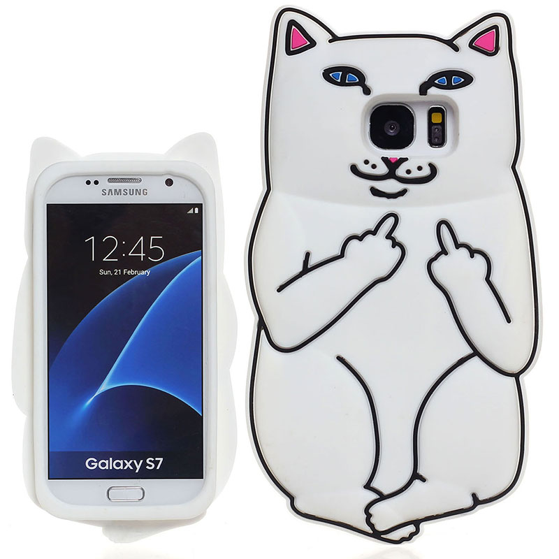 """Middle Finger Pocket Cat Silicon Case Cover Skin Shell for Samsung Galaxy S7 G9300 5.1"""" Inch Screen Back Protector(China (Mainland))"""