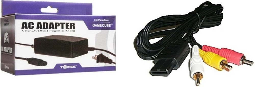 AC ADAPTER POWER SUPPLY & AV CABLE CORD FOR NINTENDO GAMECUBE BUNDLE (BRAND NEW)()