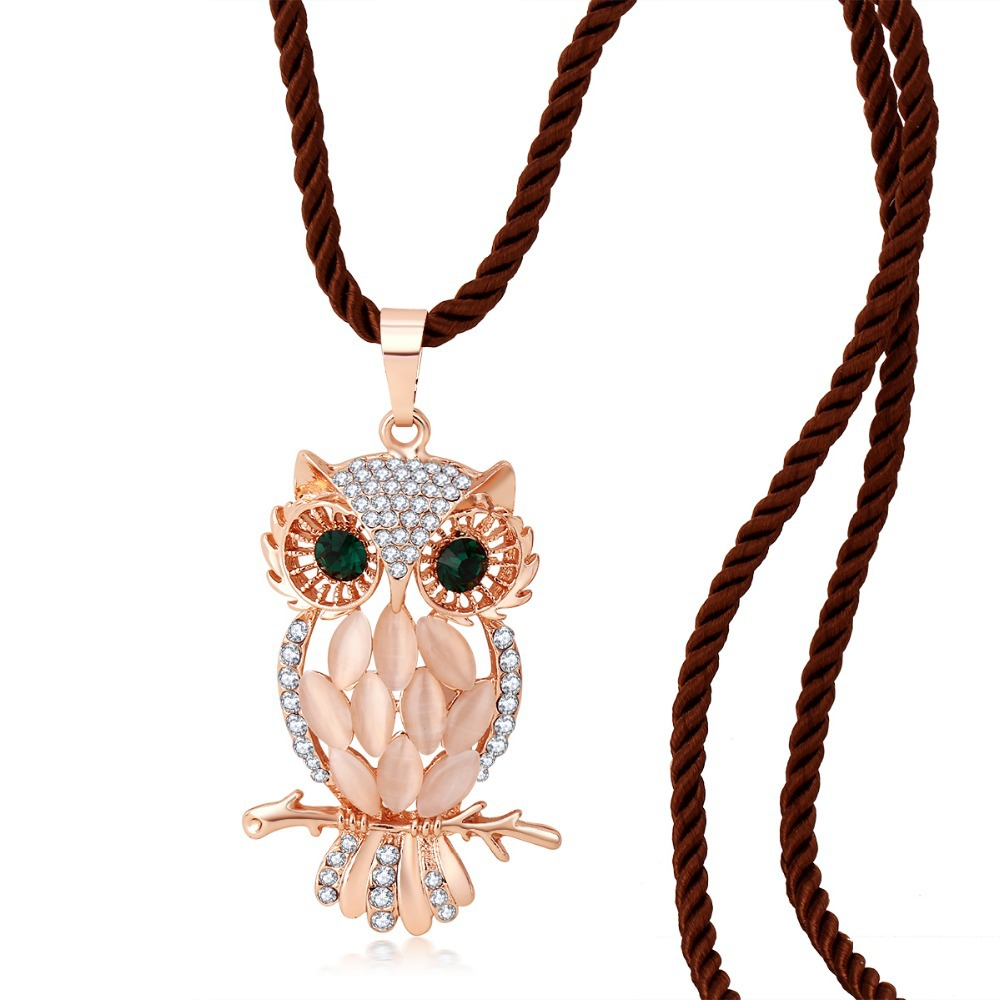 summer jewelry 18K Rose Gold Plated Crystal Vintage owl long necklace Pendants chains female fashion necklaces for women 2015(China (Mainland))