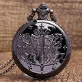 Retro Black Copper Shield Necklace Chain Women Men Quartz Pocket Watch Gift P288