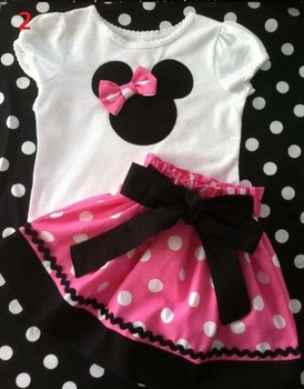 2013 Summer New Children Girl's 2PC Sets Skirt Suit Minnie Mouse baby Clothing sets dots skirt dots pants girls clothes GQT-213