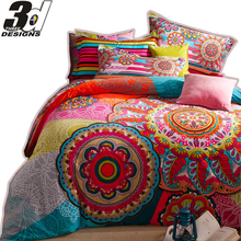 bohemia duvet cover set,winter comforter cover +bedsheet+Pillow Sham 4pc bedding sets queen king size 100% sanded Cotton Fabric(China (Mainland))