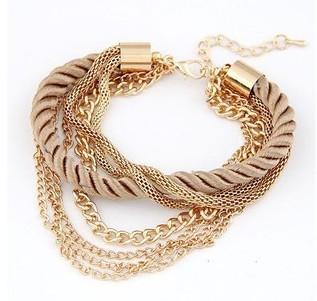 Гаджет  2014 Fashion Popular Low key Luxurious Metal Chain Braided rope Multilayer bracelet Anklets for women  None Ювелирные изделия и часы