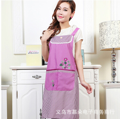 Manufacturers promotional new Korean lace sleeveless peach flowers adult kitchen aprons antifouling oil wholesale(China (Mainland))