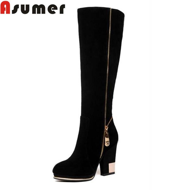 Здесь можно купить  autumn and winter fashion high quality genuine leather ankle boots pointed toe black high heels boots for women  Обувь