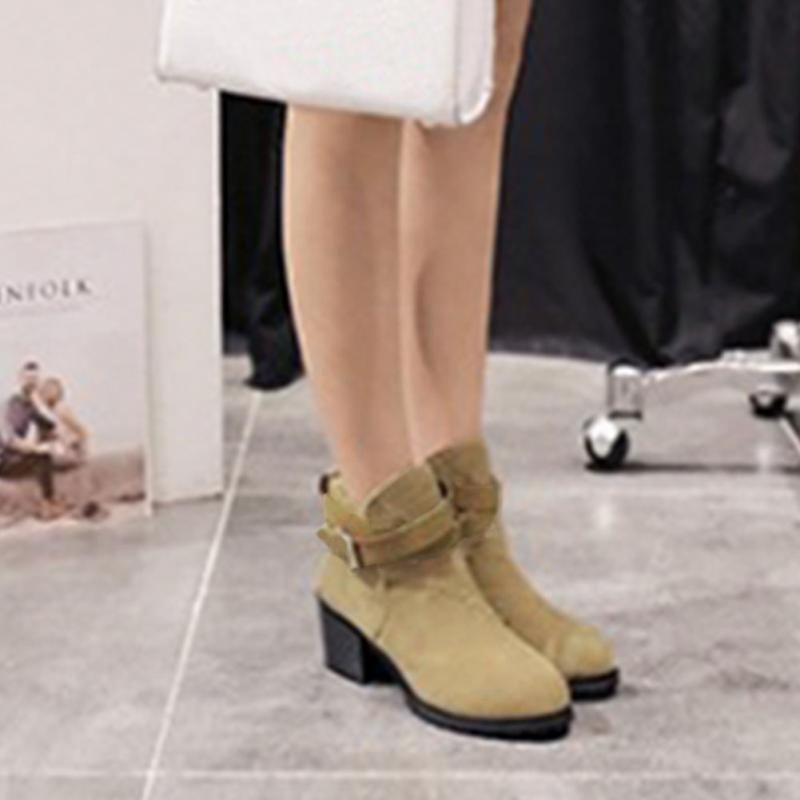One Pair of Boots Women's Winter Snow Ladies Buckles Low Heel Ankle Boots Shoes(China (Mainland))