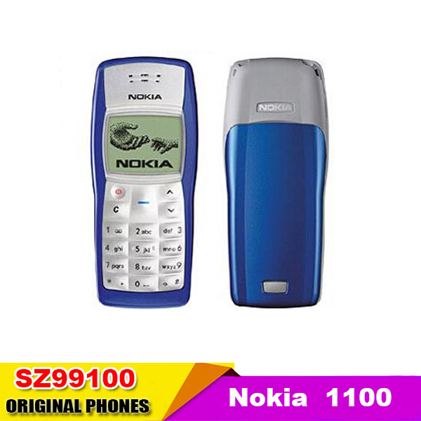 original Nokia 1100 unlocked GSM mobile phone with russian menu multi languages Refurbished One year warranty(China (Mainland))