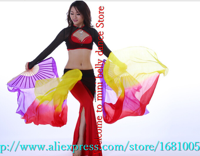 2016 female high quality Chinese silk veils dance fans Pair of belly dancing fans cheap hot sale Purple +red +yellow(China (Mainland))