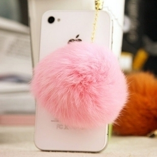 Rhinestone bulb iphone4 s i  for SAMSUNG    for apple   millet rabbit fur mobile phone dust plug mobile phone chain
