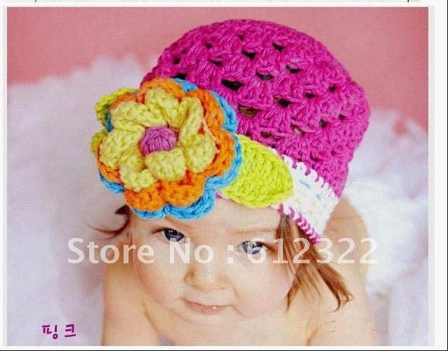 Freeshipping Baby Crochet Hat Child Crochet Flower Hat Kids Crochet Caps Baby Knitted Spring Hat Baby Hand Knitted Spring Beanie(China (Mainland))