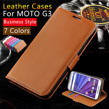 Back Covers Lychee PU Leather Filp Mobile Phone Book Case For Motorola Moto G3 G 3rd Gen Stand Wallet Card Holder Business Bags