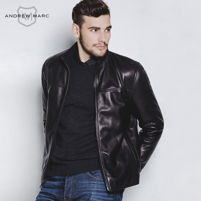 ANDREW MARC 2016 Male Leather Jacket Biker Pilot Sheepskin Slim Fit Brand Coat Autumn & Winter Clothing TM5A2400(China (Mainland))
