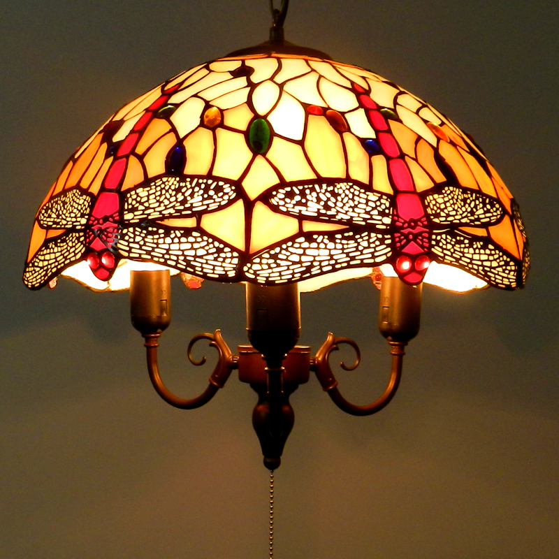 Wholesale Colored glass Dragonfly Pendant lamp Pull switch chandelier with free shipping(China (Mainland))