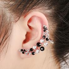 Wellsho 1Pcs Bohemia Fashion Jewelry Ear Ring Bohu Double Crystal Creative Moon Studs Earrings Ear Clip Cuff For Women And Girls