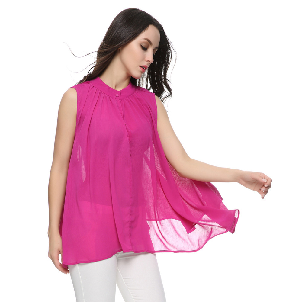 Buy Women Pleated Chiffon Blouses Loose